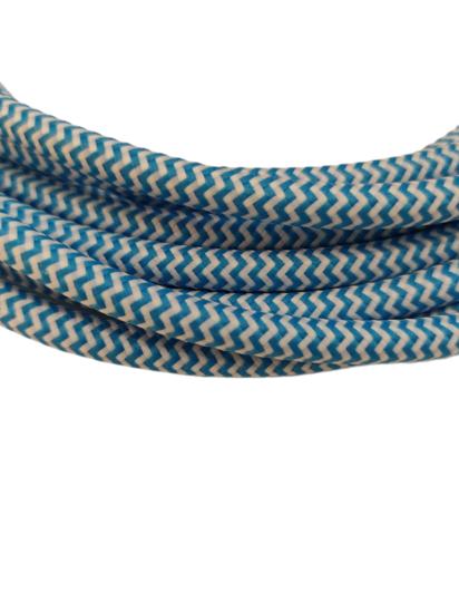 Câble Textile Tigré électrique bleu
